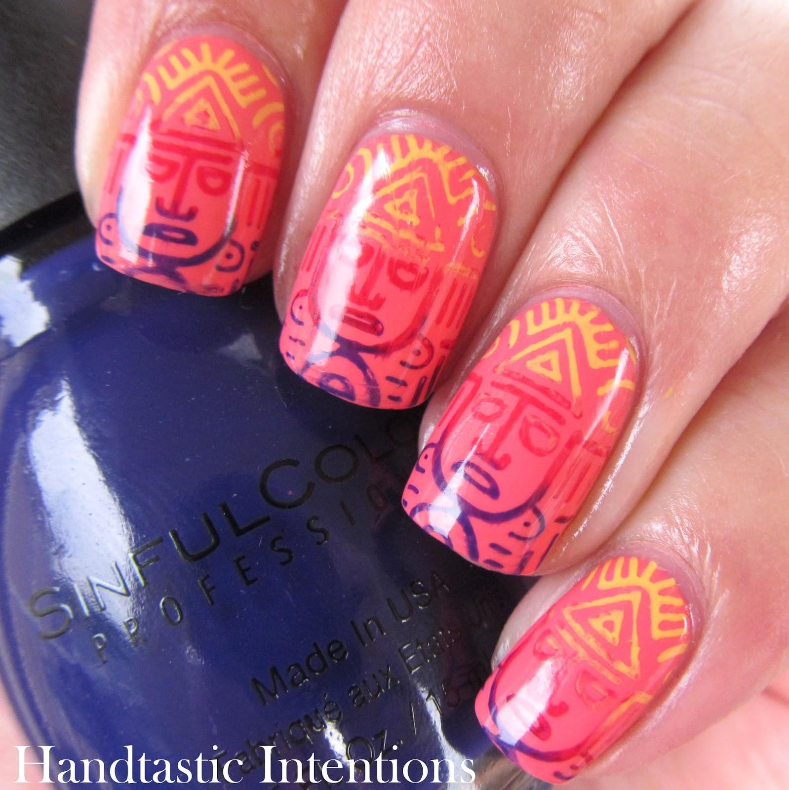 Tuesday Nail Polish: Handtastic Intentions: Nail Art: Aztec Tri Polish Tuesday