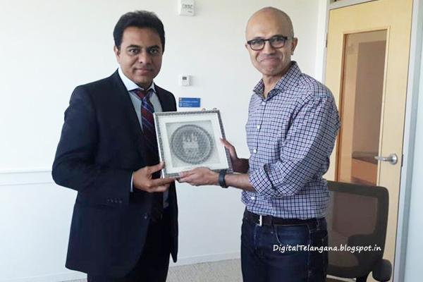 IT minister KT Rama Rao with Satya Nadella. Image Courtese: DigitalTelangana