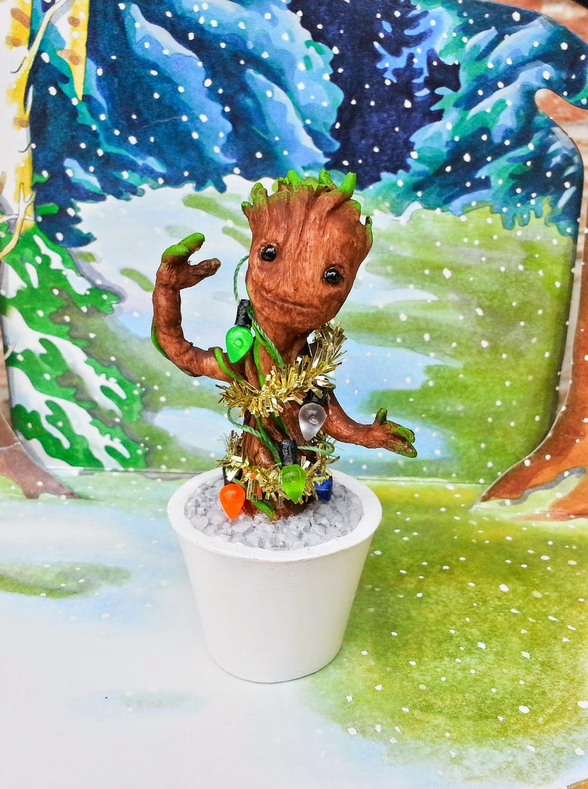 Christmas Baby Groot Guardians of the Galaxy Resin Figure by Motorbot
