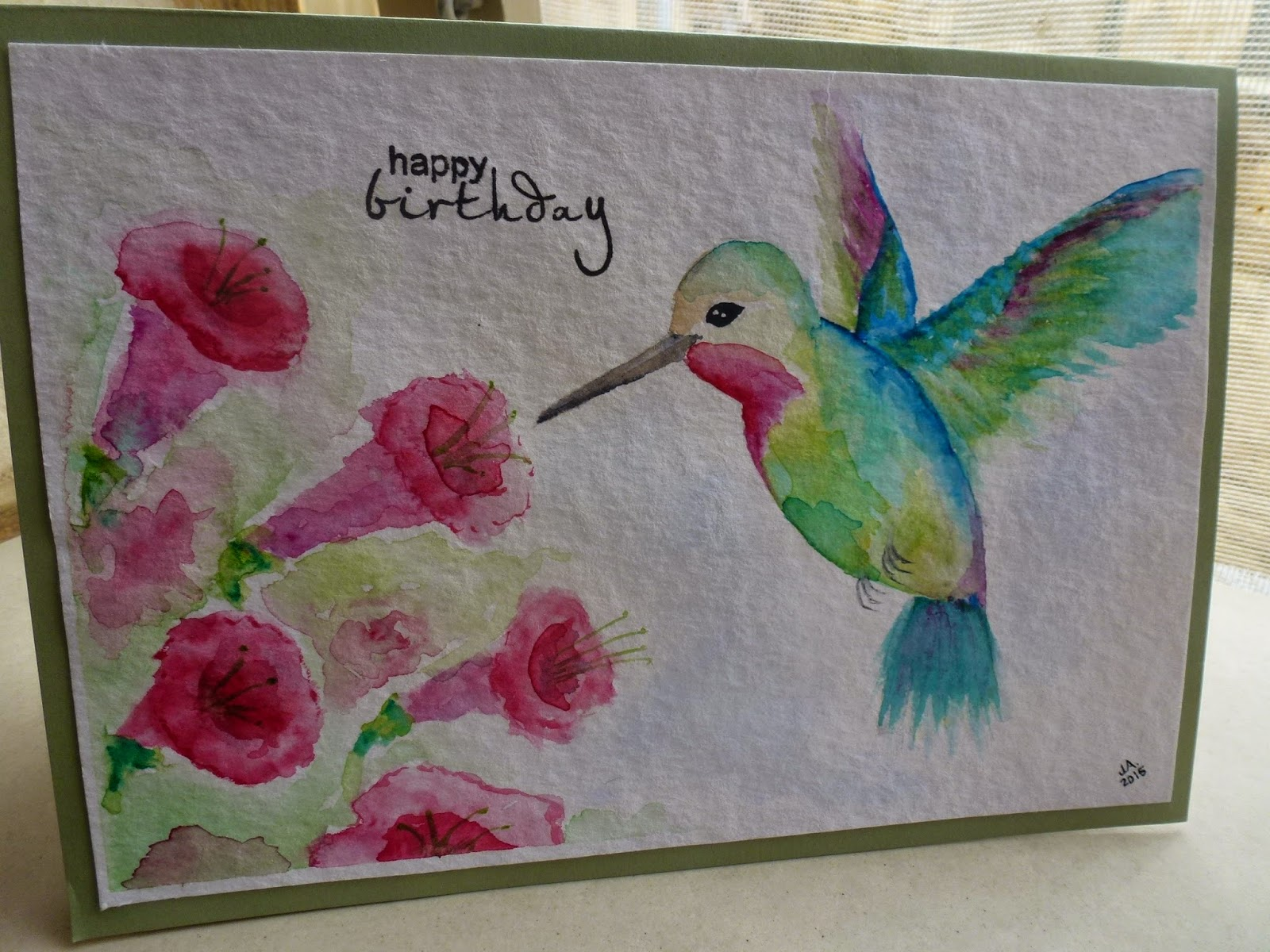 Hummingbird Watercolour Birthday Card Stuff and Spice