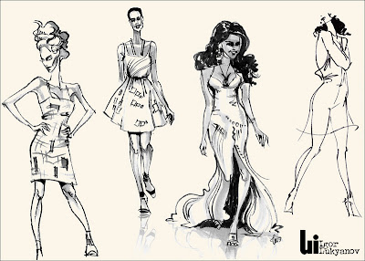 female fashion sketch (drawing of a fashion model)