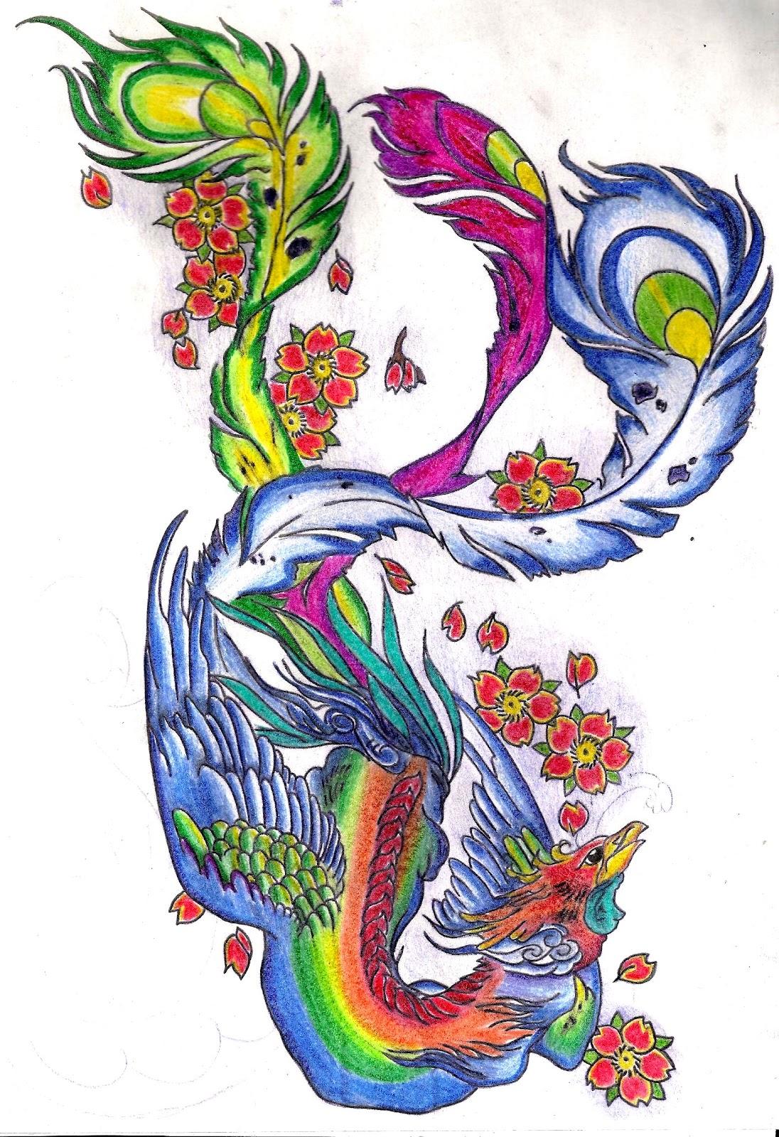 Prince tattoo desenho de fenix colorido for Fenix tribal tattoo