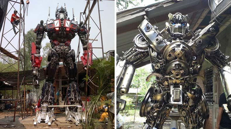 Transformers de 6 metros hecho de piezas de autos viejos