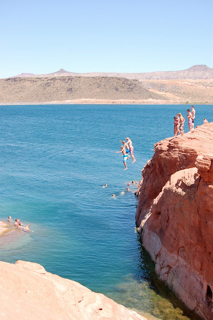 Cliff Jumping at Sand Hollow Near St. George Utah