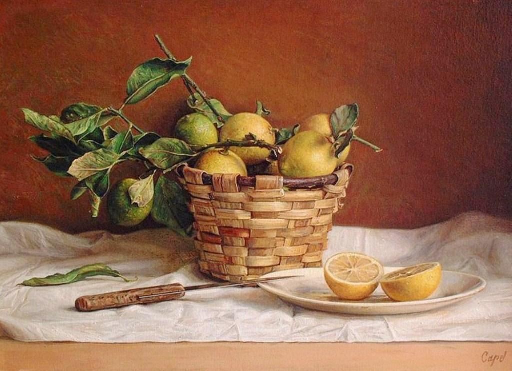 ANTONIO GUZMAN CAPEL Bodegones-con-frutas-y-vasijas