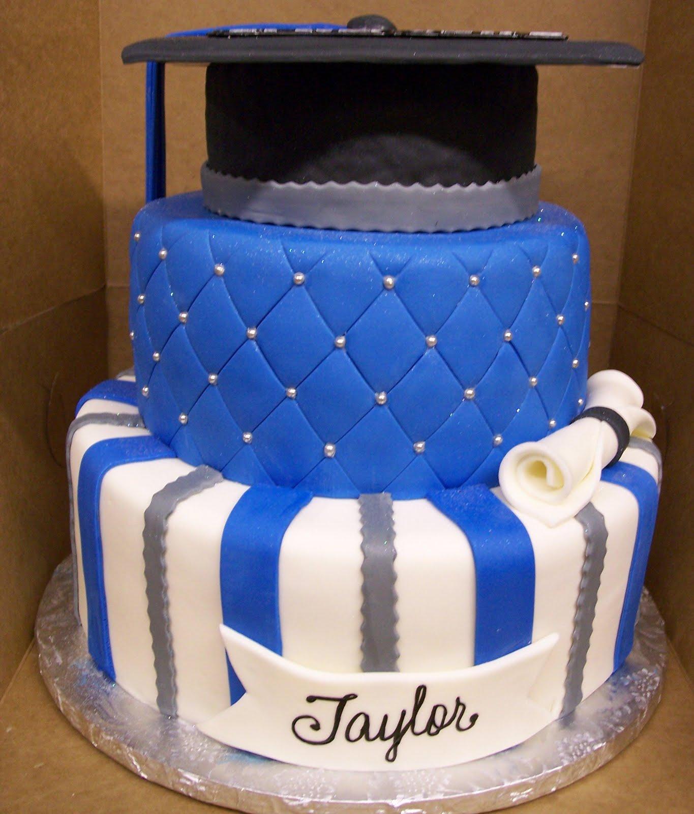 Cake Images Graduation : MyMoniCakes: Blue & Silver Graduation Hat cake