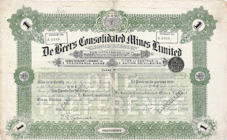 share certificate of De Beers Consolidated Mines Limited