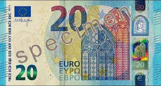 Vinte Euros, Vingt Euros, Twenty Euros, Bank Note, New, Nova,