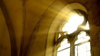 dust on the sunbeam through a church window
