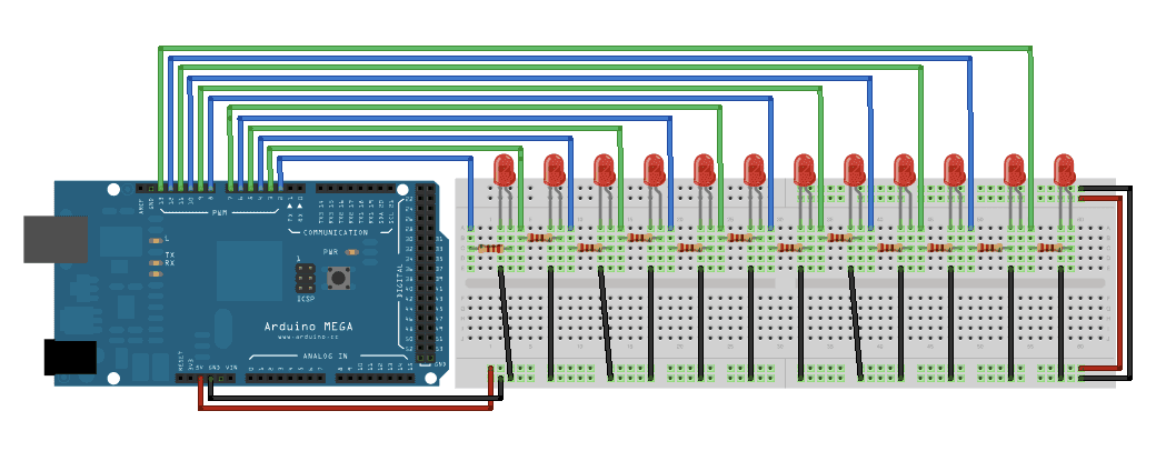 Wirkam analog write with leds on an arduino