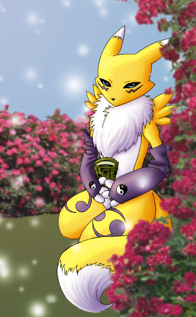 Renamon with Roses por Ajehy