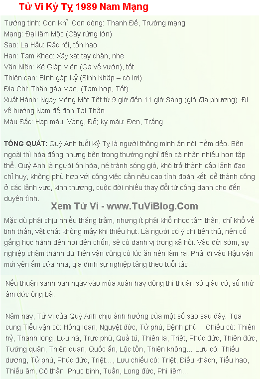 Tu Vi Tuoi Ky Ty 1989 Nam