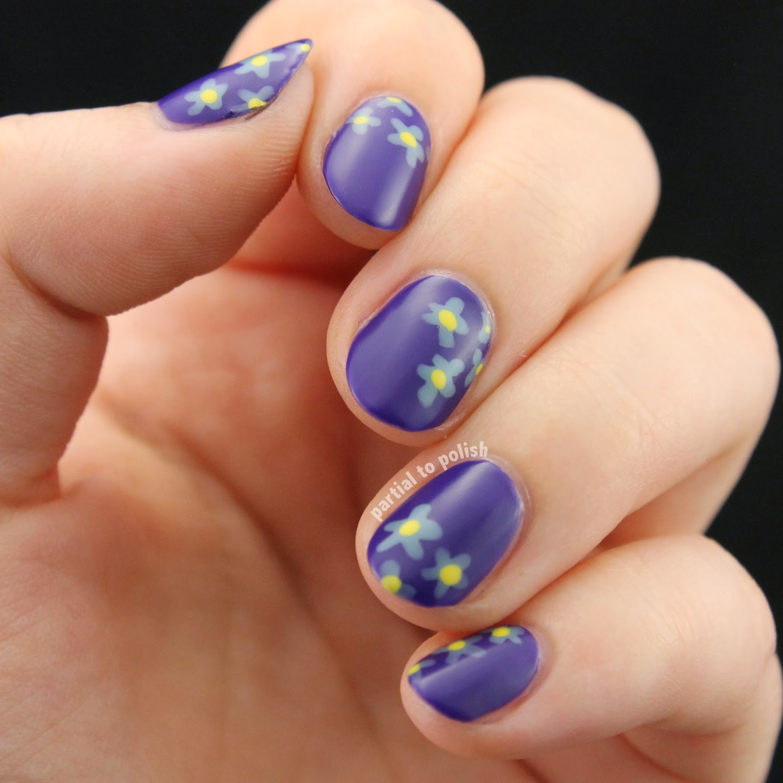 Purple Floral Nail Art Featuring Pretty & Polished Wax On Top Coat!