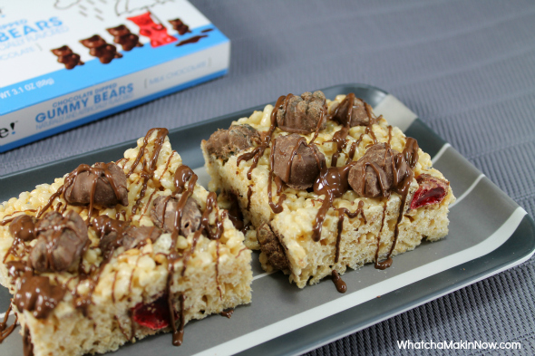 Chocolate Covered Gummy Bear Rice Krispie Bars --- Why not put gummy bears in your rice krispie bars!?!