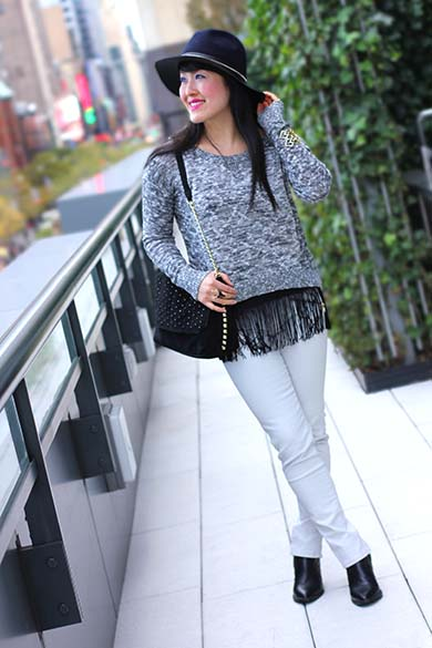 American Eagle MARLED MISTLETOE SWEATER with Zara Jeans