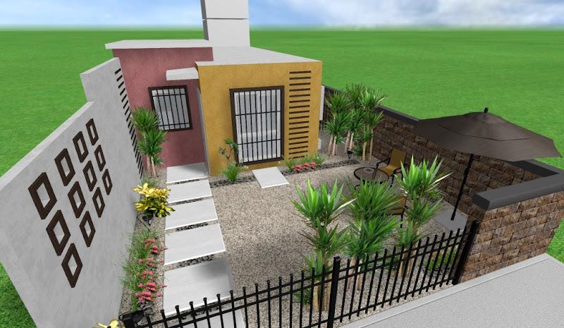 diseño, adornos y decoraciones para un jardin minimalista frente de la casa
