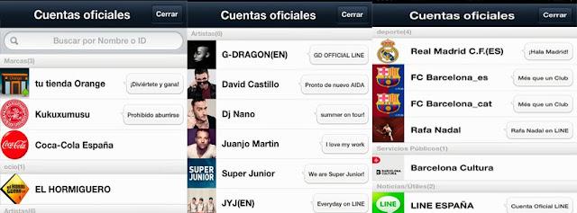 categorias de cuentas oficiales en app line