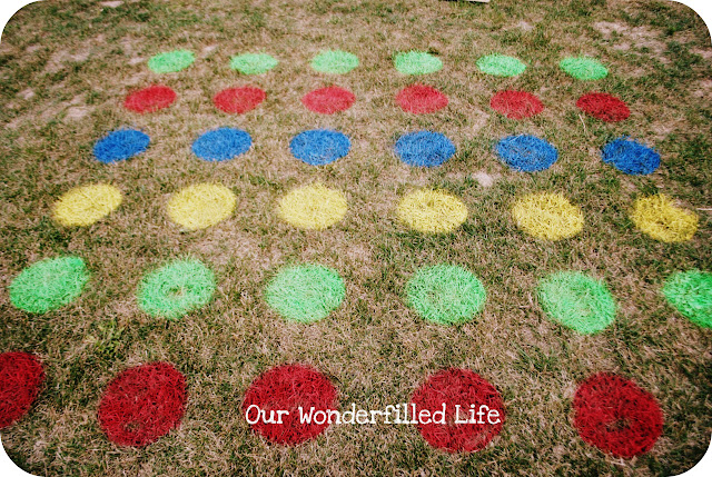 diy twister game on the grass for a birthday party activity!