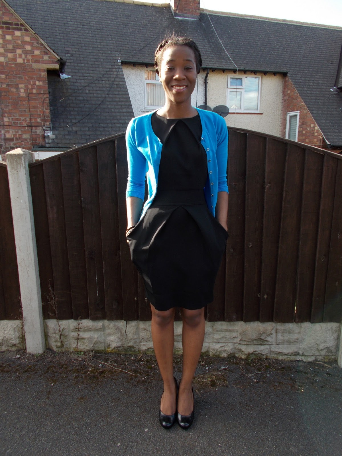 Graduate Fashionista : Little Black Dress ft Blue Cardigan