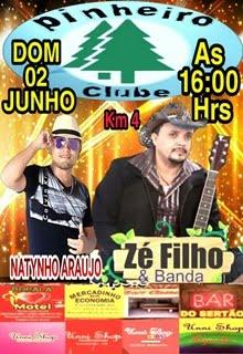 DOMINGO, 02 DE JUNHO, TEM ZÉ FILHO E BANDA NO PINHEIRO CLUBE