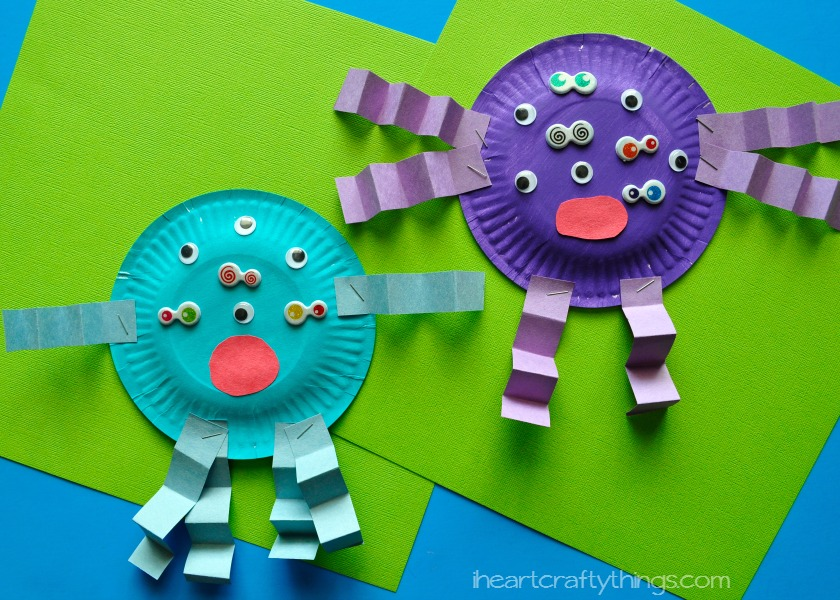 Paper Plate Monster Kids Craft  sc 1 st  I Heart Crafty Things : toddler craft ideas paper plates - pezcame.com