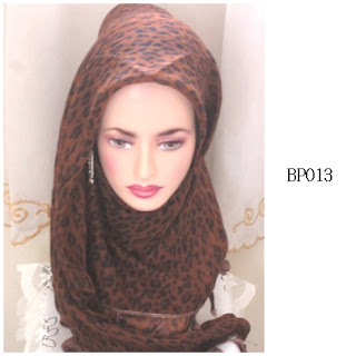 tudung bawal printed leopard dark brown