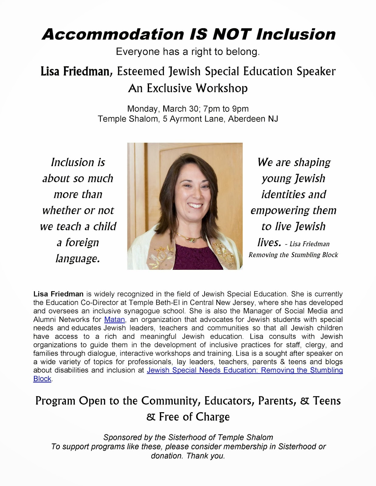 Lisa Friedman at Temple Shalom, Aberdeen; Removing the Stumbling Block