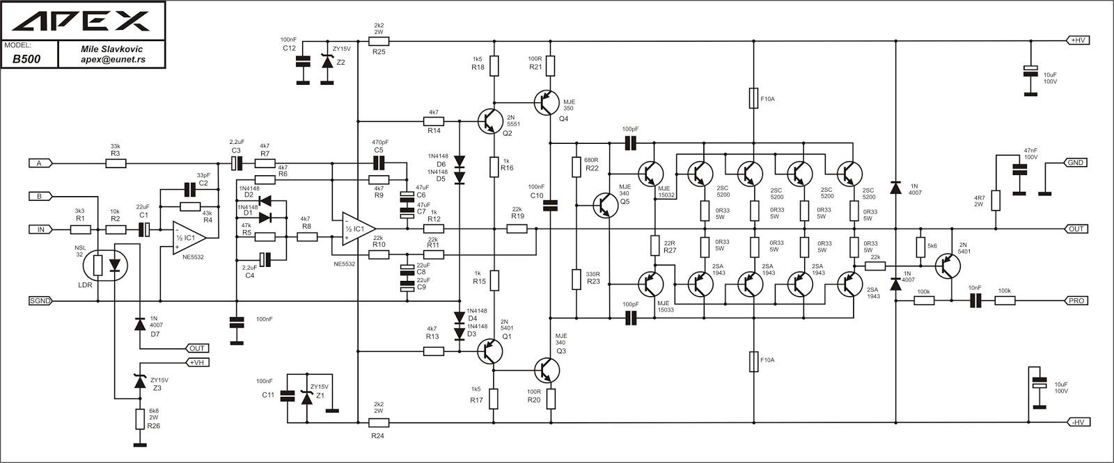 Skema amplifier H900 standar dengan stepper.