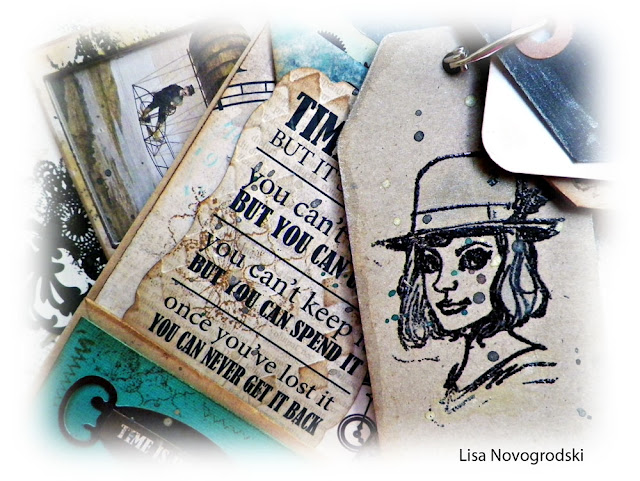 Bag and Tag Mini Album by Lisa Novogrodski using Steampunk Selfie Stamps by Brett Weldele