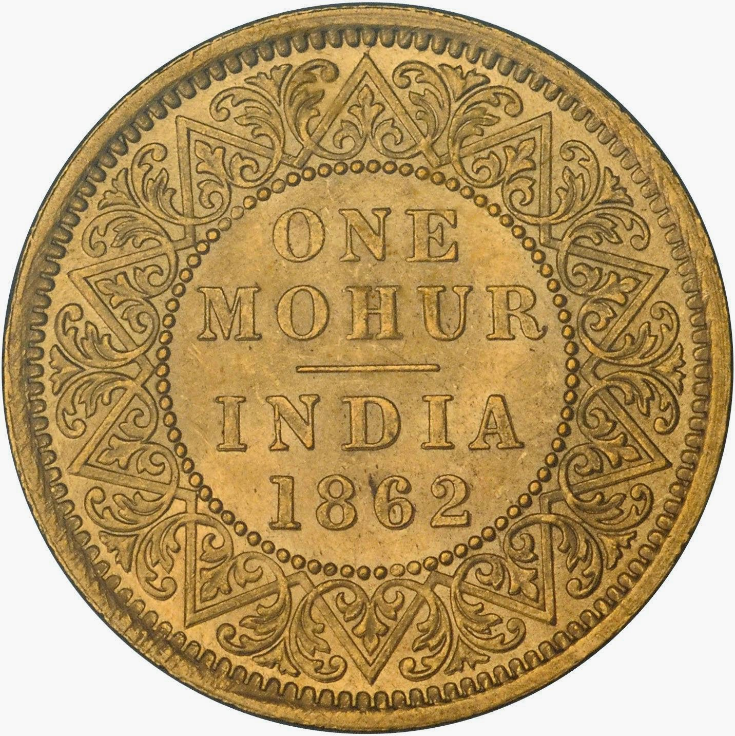 Gold Coins British India Mohur 15 Rupees 1862