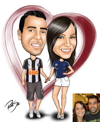 caricatura de casal de namorados
