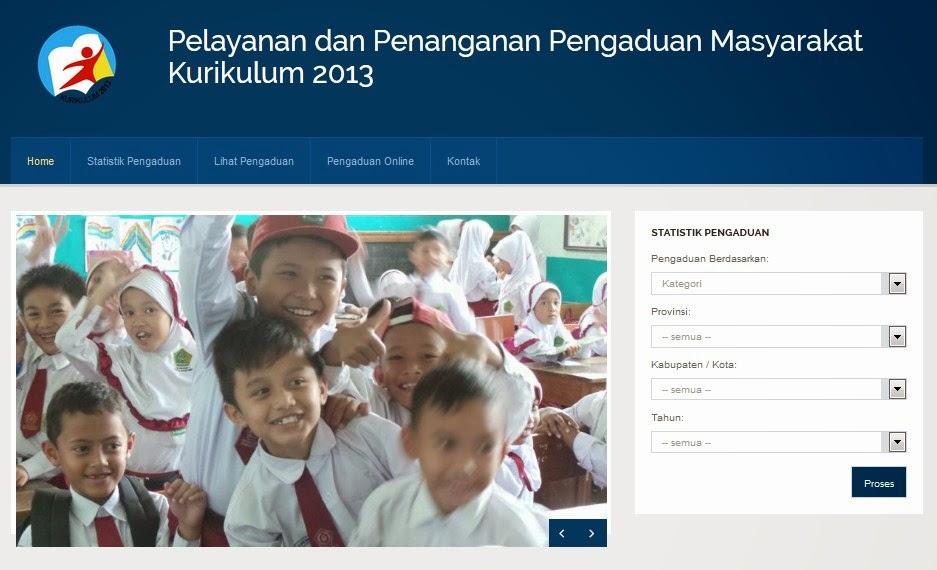 Tampilan laman Pengaduan Kurikulum 2013 Kemendikbud