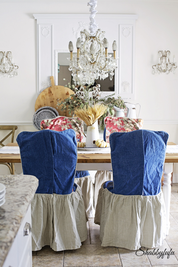 Chair Slipcovers To Change The Look Of A Dining Room - shabbyfufu.com