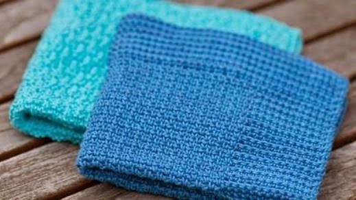 Heklet blå klut oppskrift nr.1 fra Tove Fevang