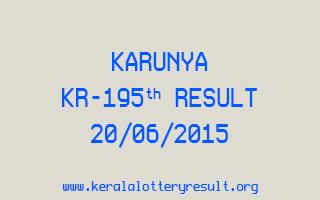 Karunya KR 195 Lottery Result 20-6-2015