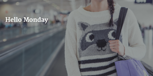 Hello Monday Girl with Raccoon Sweater - photo credit Ryan McGuire - Hello Handbag