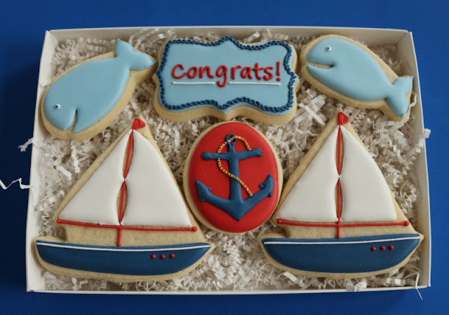 small nautical cookie gift box