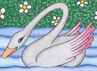 Dibujo de un cisne en el agua