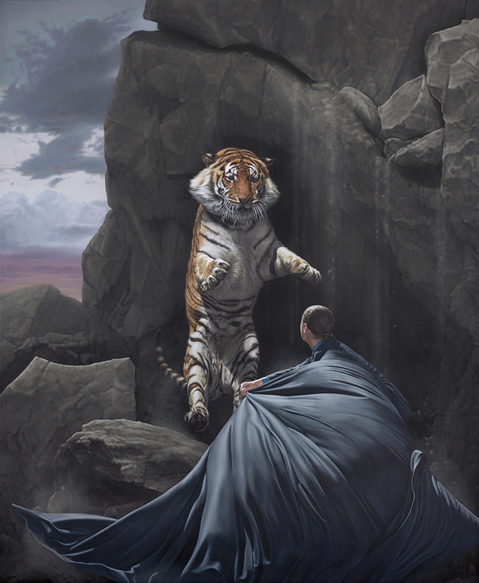 06-Clash-Joel-Rea-Paintings-of-People-and-Animals-in-Nature-www-designstack-co