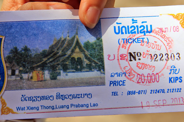 Entrance ticket to the temple Wat Xieng Thong