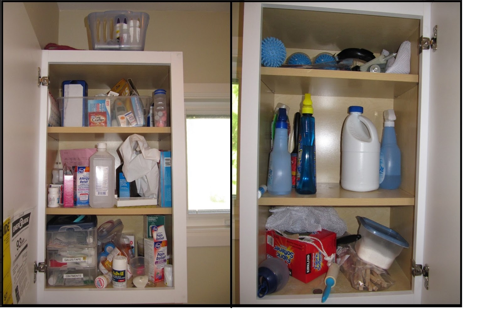 The left-hand side cabinet we use for storing medications and first-aid supplies; the right-hand side cabinet is used for detergent stain remover ... & everyday organizing: An Organized Laundry Room Making Over the ...