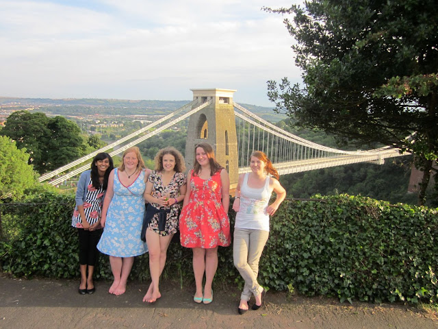 5 girls standing in front of the Clifton Suspension Bridge