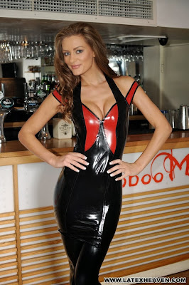 Latex Heaven, Black / Red Latex Dress and Stockings