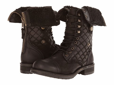 Black Fold Over Combat Boots for Women