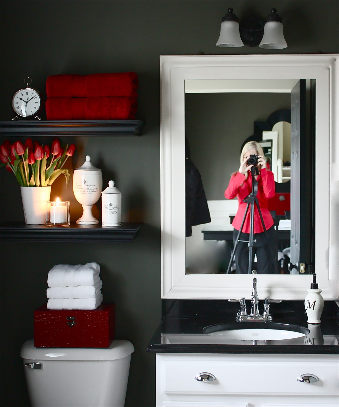 The yellow cape cod my powder room makeover reveal and a for Red and gray bathroom sets