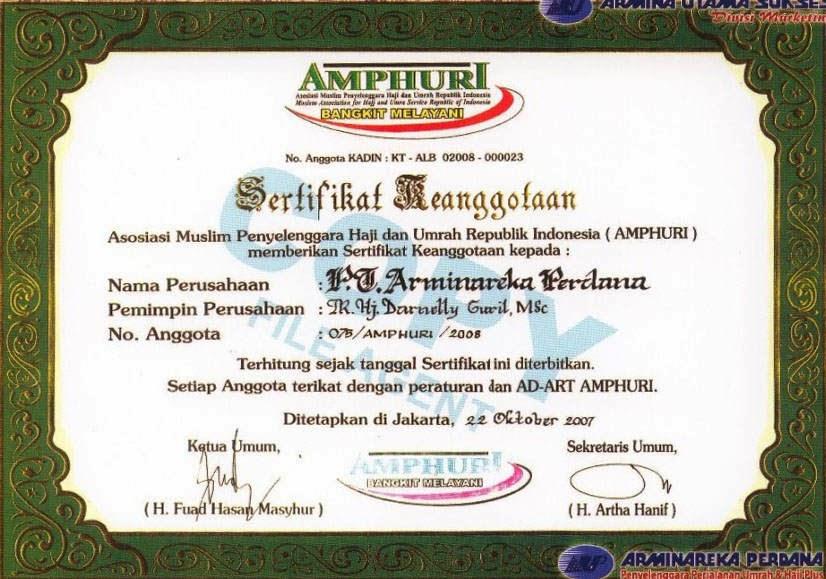 Legalitas PT Arminareka Perdana