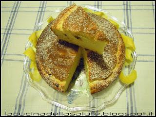 torta alla ricotta,limone e gocce di cioccolato