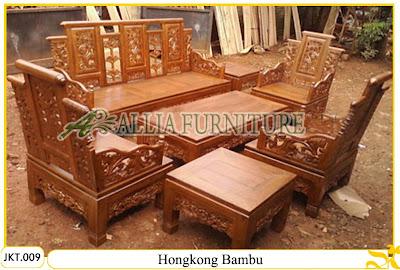 Kursi & Meja Tamu Set Ukiran Kayu Jati Hongkong Bambu