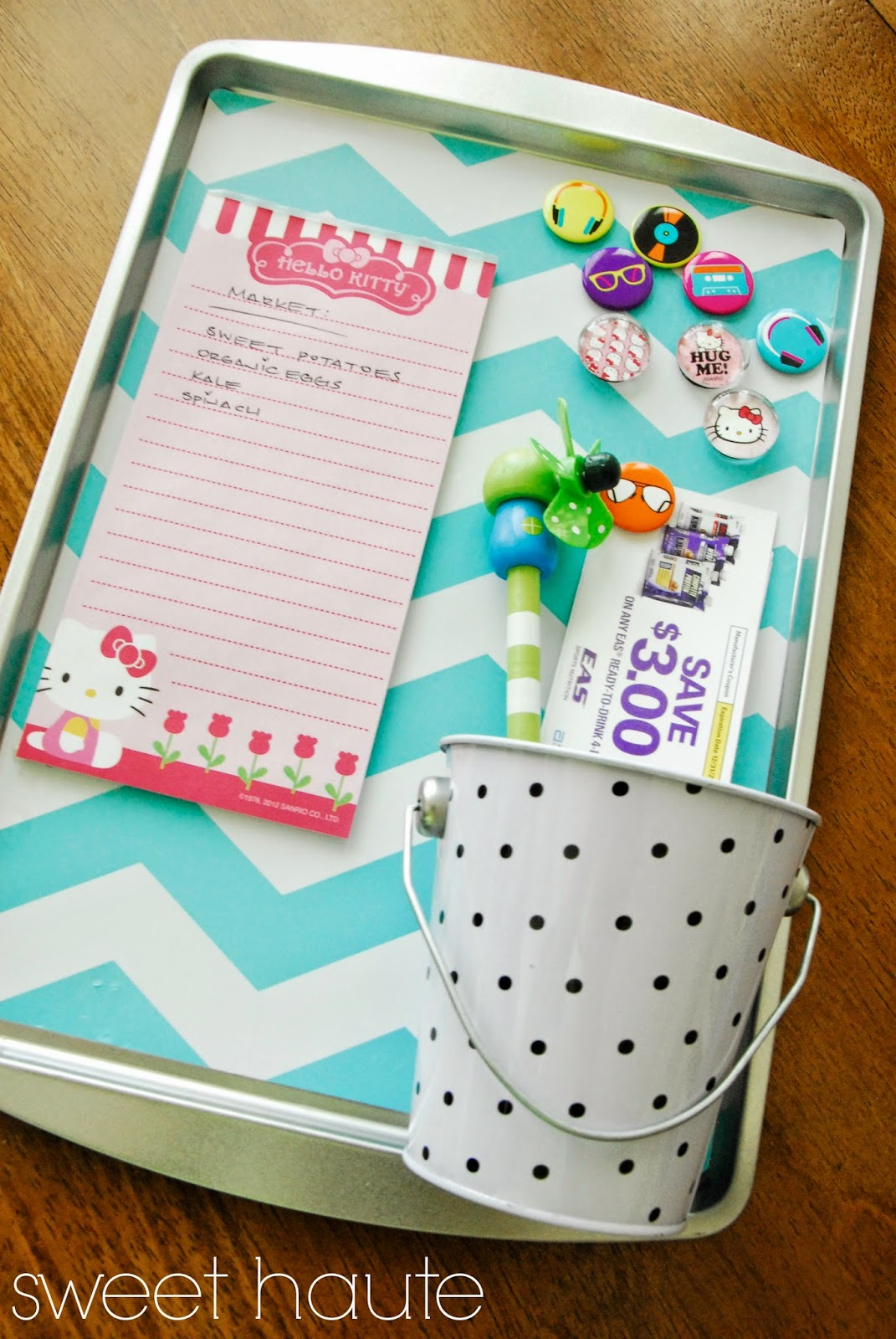 organizing, magnetic board, chevron, homemade gift, cheap inexpensive