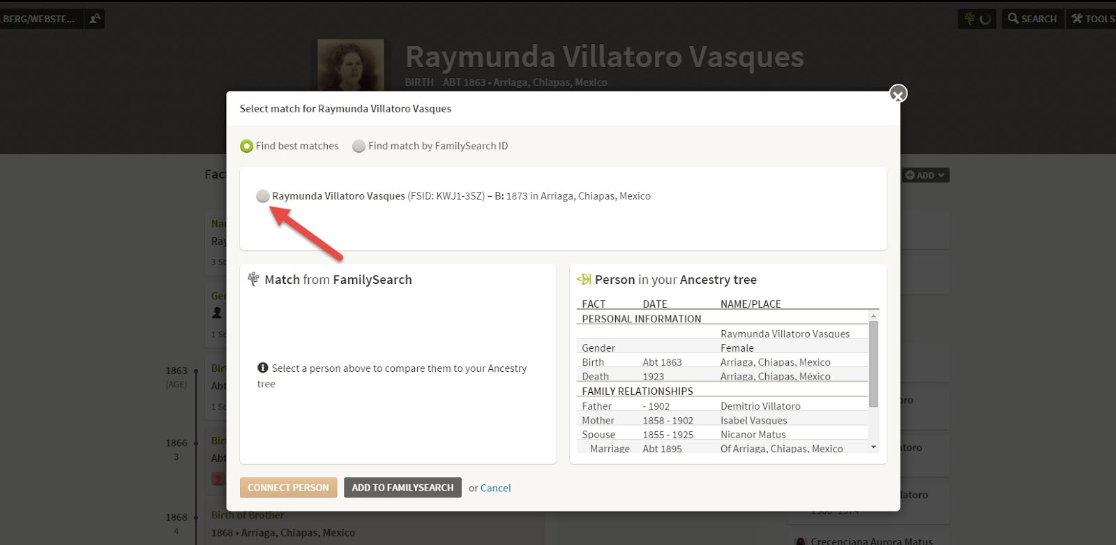 Choose the matching person in your FamilySearch